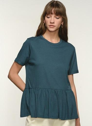 NGSTYLE Ngkss21Ts0075 Volan Detaylı Tshirt Yeşil